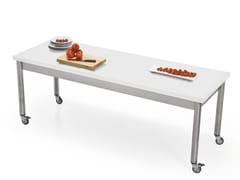 Tavolo rettangolare in acciaio inox e Corian® con ruoteAUXILIUM 696115 | Tavolo con ruote - JOKODOMUS