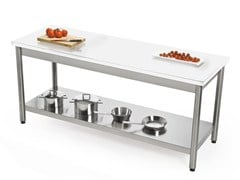 Tavolo da cucina rettangolare in acciaio inox e Corian®AUXILIUM 696225 | Tavolo in Corian® - JOKODOMUS