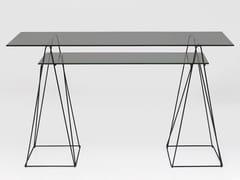 Consolle / scrittoio in acciaio e vetro temperatoPOLAR BLACK - KARE DESIGN