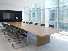 Tavolo da riunione rettangolare in legno impiallacciato con sistema passacaviA2 MEETING | Tavolo da riunione in legno impiallacciato - BK CONTRACT EQUIPMENT