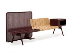Panca in alluminio e legno con schienaleACE - ETHIMO