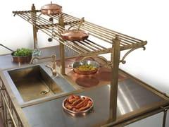 Mensola in ottone brunito per isoleACR067 | Canale attrezzato per cucina - OFFICINE GULLO