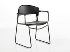 Sedia impilabile in Biogreen® e acciaio con braccioliAGAIN   Sedia con braccioli - BBB