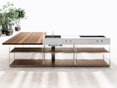 Cucina da esterno in acciaio inox e legno con barbecueAH01 | Cucina da esterno - BOFFI