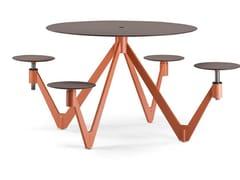Tavolo per spazi pubblici rotondo in acciaio e legnoAIR CIRCLE - METALCO