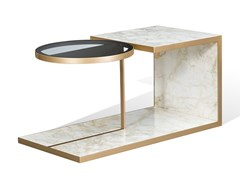 Tavolino in marmo con inserto in vetroALFRED M | Tavolino - BELLANI