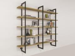 Libreria a parete in legno impiallacciato e ferroALICE | Libreria in legno impiallacciato - BAREL