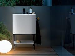 Mobile lavabo da terra in Tecnoblu con porta asciugamaniALLEGRO - ARBLU