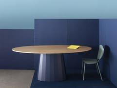 Tavolo ovale in acciaio e legnoANKARA L | Tavolo ovale - MATIÈRE GRISE