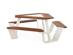 Tavolo da picnic in acciaio verniciato a polvere con panchine integrateANKER - EXTREMIS
