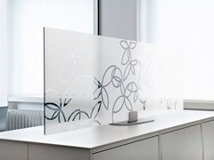 Pannello divisorio da scrivania in vetro temperato ARCHITECTS GLASS DESKTOP - ACOUSTICPEARLS