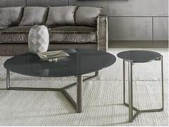 Tavolino rotondo basso in vetro con struttura in metalloARNE | Tavolino in vetro - CASAMILANO