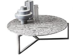 Tavolino basso rotondo in legno con struttura in metalloARNE | Tavolino in legno - CASAMILANO