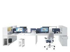Postazione di lavoro multipla con scaffale integrato ASTERISCO APP - JOINT - Asterisco App