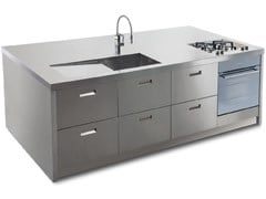 Cucina su misura in acciaio inox con isolaATENA ISOLA - GPS INOX