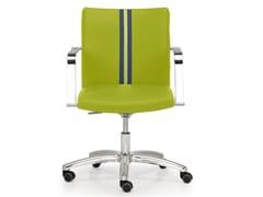 Sedia ufficio operativa ad altezza regolabile in pelle a 5 razze con braccioli AURORA   Sedia ufficio operativa - Aurora