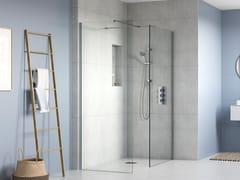 """Flair Showers, Walk in AYO  2 lati con supporto a """"T"""" Box doccia con due pannelli in vetro e barra stabilizzatrice"""