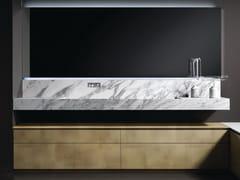 Mobile lavabo singolo in marmo di Carrara e ottoneB&M VANITY - BAUTEAM