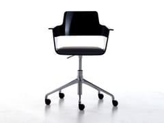 Sedia ufficio operativa con braccioli con ruote B32 HO | Sedia ufficio operativa ad altezza regolabile - B32