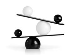 Lampada da tavolo a LED in acciaio e vetroBALANCE BLACK - OBLURE