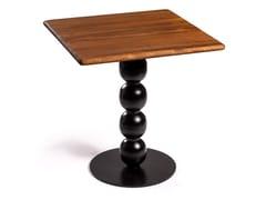 Tavolo quadrato con top in iroko e base in ferroBALLOON - DADRA