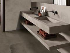 Lavabo doppio rettangolare in gres porcellanato in stile moderno con pianoBATH DESIGN | Lavabo doppio - ARIANA CERAMICA ITALIANA