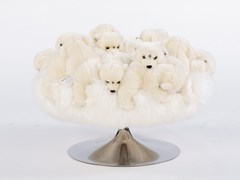 Pouf imbottito rotondo in poliestere BEAR FLUFFY BALL - APCOLLECTION
