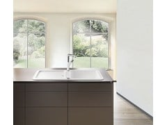 Lavello a una vasca e mezzo da appoggio in materiale composito con gocciolatoioBLANCO YOVA XL 6 S - BLANCO