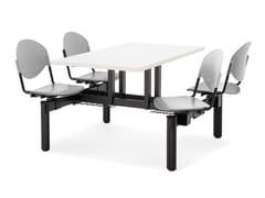 Dieffebi, BLOCCO MENSA Tavolo per spazi pubblici rettangolare con sedie integrate