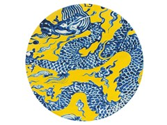Tappeto rotondo in lana BLUE CHINA AMARILLO - Chain Stitch