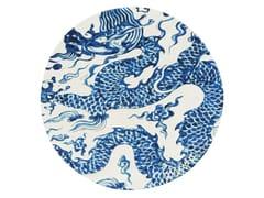 Tappeto rotondo in lana BLUE CHINA BLANCO - Chain Stitch