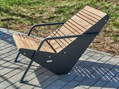 Seduta da esterni in acciaio e legnoBOOMERANG | Seduta da esterni - PUNTO DESIGN