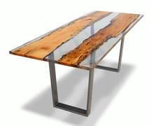 Tavolo da pranzo rettangolare in legno masselloBRICCOLA E RESINA | Tavolo da pranzo - ANTICO TRENTINO DI LUCIO SEPPI