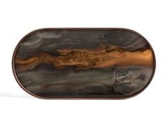 Vassoio ovale in legno e vetroBRONZE ORGANIC - OBLONG - ETHNICRAFT