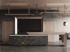 Cucina in legno e marmo con isolaBT45 AK-45 KITCHEN EXPERIENCE - BAUTEAM