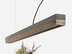 Lampada a sospensione a LED in cemento e legno di recupero [C1] DARK OLD WOOD - C