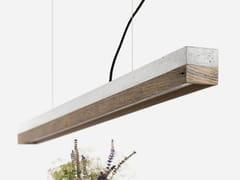 Lampada a sospensione a LED in cemento e legno di recupero [C1] OLD WOOD - C