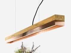 Lampada a sospensione a LED a luce diretta in rovere e rame [C1o] COPPER - C