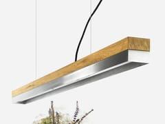 Lampada a sospensione a LED in rovere e acciao inox [C1o] STAINLESS STEEL - C