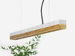 Lampada a sospensione a LED in marmo di Carrara e rovere [C2m] CARRARA OAK - C