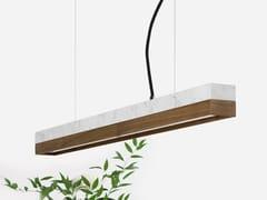 Lampada a sospensione a LED in marmo Carrara e noce [C2m] CARRARA WALNUT - C