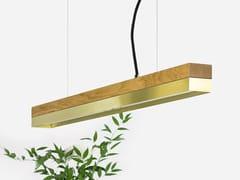 Lampada a sospensione a LED in rovere e ottone [C2o] BRASS - C