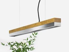 Lampada a sospensione a LED in rovere e acciaio inox [C2o] STAINLESS STEEL - C