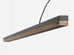 Lampada a sospensione a LED in cemento e legno di recupero [C3] DARK OLD WOOD - C