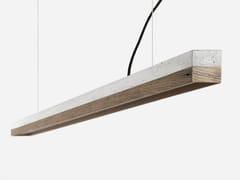 Lampada a sospensione a LED in cemento e legno di recupero [C3] OLD WOOD - C