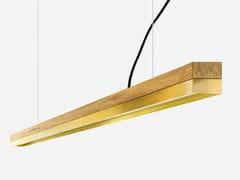 Lampada a sospensione a LED in rovere e ottone [C3o] BRASS - C