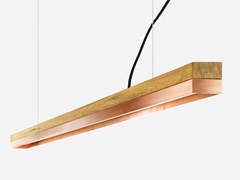 Lampada a sospensione a LED a luce diretta in rovere e rame [C3o] COPPER - C