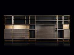 Libreria autoportante in legno massello e ottoneCAGE-C - H-07