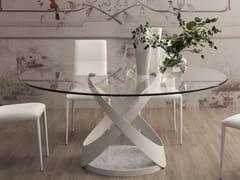 Tavolo rotondo in vetro con base in metallo e marmoCAPRI | Tavolo rotondo - TONIN CASA