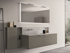 Mobile lavabo singolo sospeso con specchio CARTABIANCA | Mobile lavabo - Cartabianca